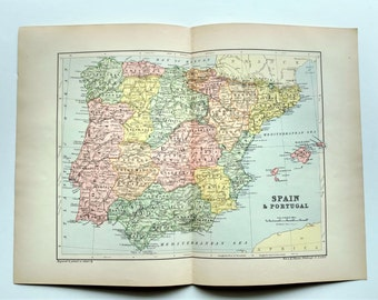 Antique Spain and Portugal Map 1890's