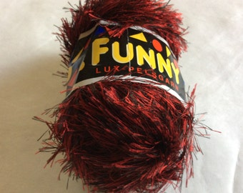 Sandnesgarn Funny Red & Black Long Eyelash Yarn #4495 Bulky Polyester Faux Fur 50 grams 60 yards Quick Knit on US 10 needle Machine Washable