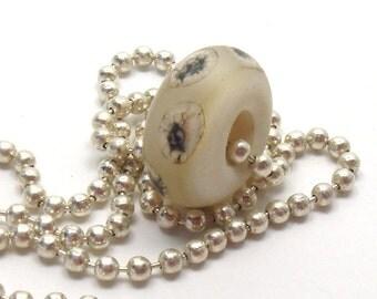 Lampwork big hole glass bead  -  Ivory & Silver  -  big hole bead, etched cream lampwork, organic lampwork beads, lampwork bhb
