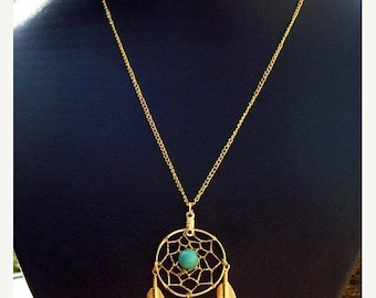ON SALE Sun and Sky lll -  Gold,Turquoise dream catcher necklace Larger size, dreamcatcher necklace gold or silver with turquoise & gold fea