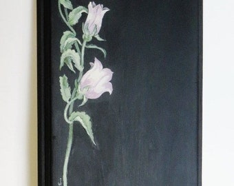 Acrylic painting on wood chalkboard wall hanging ~ canterbury bells