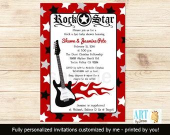 Red Rock Star Guitar Rocker Baby Shower Invitatons, PRINTABLE Digital File DIY Invitation