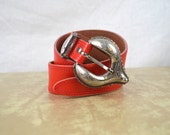 Vintage Red Western Tooled Leather Belt - Made in Australia