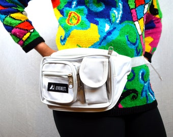 Vintage 80s 90s White Nylon Hip Fanny Pack