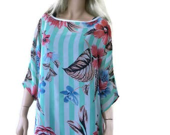 Loose summer blouse-Chiffon summer top-Loose fitting tunic-Spring summer collection-Size L-Only one available