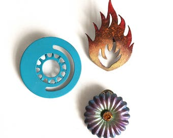 Recycled Brooches/Fire Brooch/Bike Jewelry