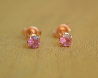 Gold Earring, Garnet Earring, Malaya Garnet Earring,  Rose Gold Stud Earring, Floral Studs, Gold Post Earrings, Faceted Round Malaya Garnet
