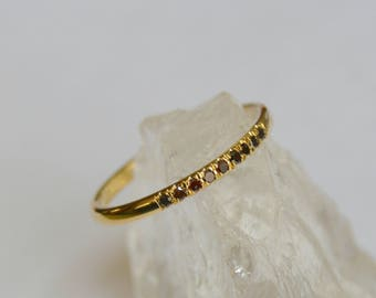 Yellow Gold Eternity Band, brown diamond eternity ring, dainty eternity ring, colored gemstone eternity ring, gifts for moms, diamond ring