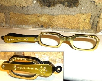1950s Lorgnette Folding Reading Glasses with AB Rhinestones and Jump Ring for Ribbon or Chain. Perfect 2x Power Magnifying Glasses.