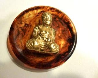 "Bakelite Button. Huge 2.25"" Diameter Vintage Brown Swirled Bakelite Vintage Button 1940s. Asian Motif. Chinoiserie. Buddha"