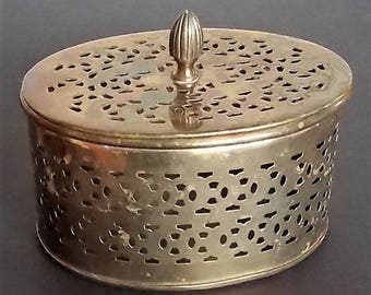 Old Brass Container & Lid, Brass Metalware, Home Decor, Vintage Metalware, Brass Container, Decorative Brass Storage, Unique Cut Out Design