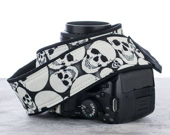 Skulls dSLR Camera Strap, Glow in the Dark, Canon, Nikon, Sony, GITD, Halloween, Goth, SLR, Mirrorless,Camera Neck Strap, 247
