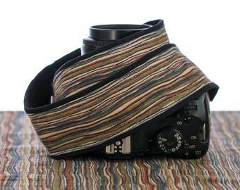 dSLR Camera Strap, Brown Stripe, SLR, Pocket, Camera Neck Strap, Canon Strap, Nikon Strap,  Mirrorless camera,  077