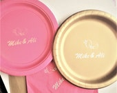 Custom paper  plates with wedding rings - set of 10