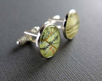 Map Locations Cuff Links for Casey - Murren, Switzerland