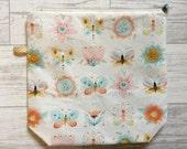Project bag pouch zipper bag butterfly flower cute yarn bag crochet knitting project