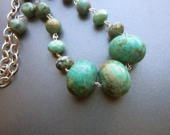 Turquoise Necklace Chunky Stones Natural Turquoise Southwest Jewelry