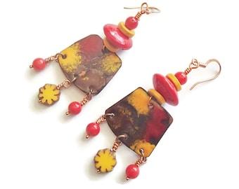 Enamel on Copper Statement Earrings Red and Yellow Enamel Copper Earrings Lampwork Saucer