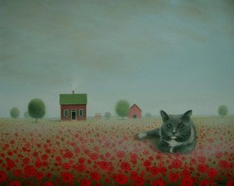Original Farm Painting CAT painting Farmhouse PAINTING  12 x 16 Poppy Landscape Original Landscape Painting Folk Art Painting Red poppy art