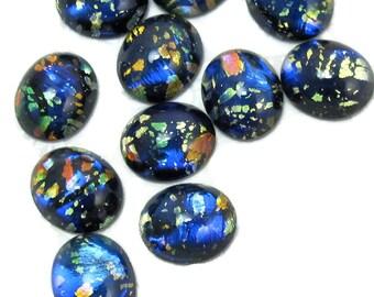 Black Opal Stones 8 pcs 12x10mm Vintage Glass Cabochon S-20
