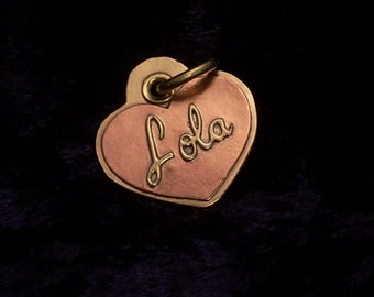Heart-shaped copper and brass custom pet tag