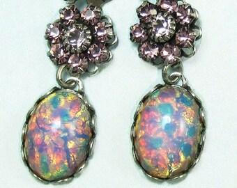 Flower Earrings Pink Fire Opal Vintage Glass Lavender Swarovski Crystal art deco earrings