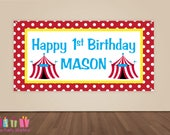 HAPPY BIRTHDAY Banner, Circus Birthday Decorations, Carnival Party Backdrop, Party Banner, Boys or Girls Birthday Party, Vinyl Banner