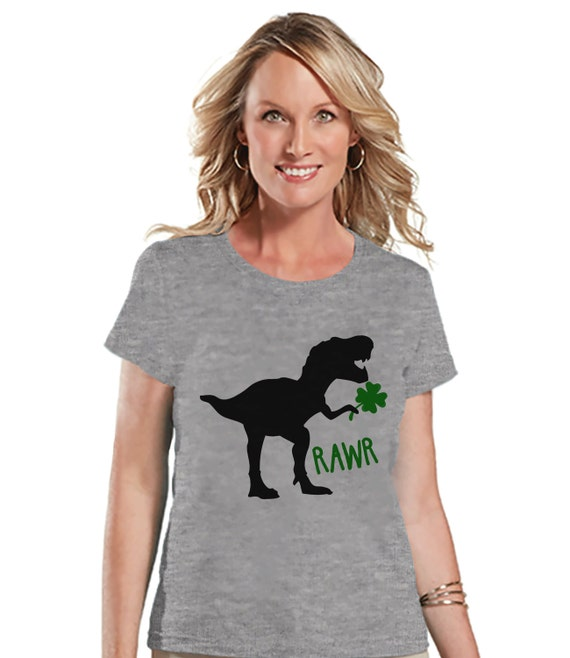 Womens St Patricks Day Shirt Ladies Dinosaur St Paddy 39 S