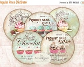 40% OFF SALE - Shabby chic Sweets Circles Micro slides - 2 inches - digital collage sheet - pocket mirrors, tags, scrapbooking, cupcake topp