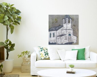 Large Church Painting, Church art, original church painting, canvas art, abstract, church art, Fine Art, acrylic painting, Liz Wiley