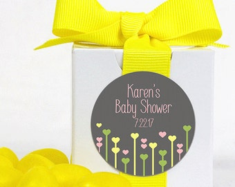 12 Personalized Favor Boxes - Baby Shower Favors - Custom Stickers - Shower Favors - Personalized Stickers - White Boxes - 2 x 2