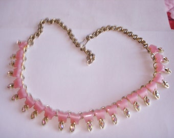 Pink Lucite Rhinestone Necklace Gold Tone