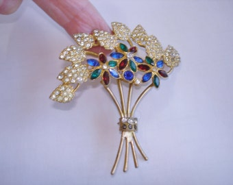 Flower Multi Color Stone Gold Tone Brooch