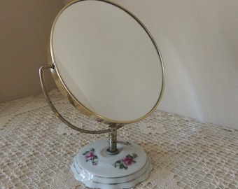 Eight Inch Swivel Two Way Mirror On Porcelain Floral Base. Boudoir Porcelain Night Stand Mirror. Bed and Bath Vanity Table Accessory.