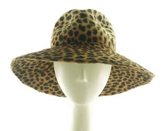 Animal Print Wide Brim Hat, Felt Hat, Fedora Hat for Women, Floppy Hat, Mother of the Bride Hat, Wedding Hat, Ladies Fedora Hat, Beaver Hat