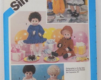 """Simplicity 6481 17""""-18"""" Large Doll Clothes Sewing  Pattern Dy Dee Baby Uncut Unused"""