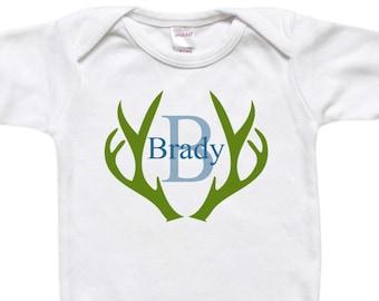 Personalized Baby Gift - Custom Bodysuit - Todder Shirt Tshirt - Deer Antlers Baby's Name Initial