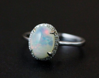 CHRISTMAS SALE Halo Diamond Australian Opal Ring - Silver Opal Ring - Engagement Rings - Pave