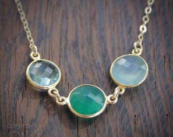 ON SALE Multi Gemstone Necklace - Green Onyx, Teal Quartz, Aqua Chalcedony - 14K Gold Fill