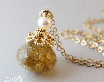 ON SALE Golden Rutile Quartz - Freshwater Pearl Necklace - 14KT Gold Fill
