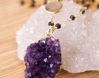 50 OFF SALE Purple Amethyst Slice Necklace - Black Pyrite Chain - Gypsy Jewelry