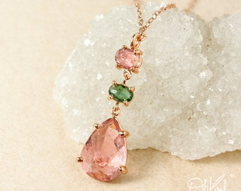 Peach Pink Tourmaline & Green Tourmaline Teardrop Necklace - Rose Gold - 3 Stone Necklace