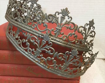 Decorative METAL TRIM ~ CROWN ~ 3 ft. ~ Metal embossed Trim ~ Pretty Silver Metal Banding ~ Metal Stamping ~ Silver Metal Embellishment