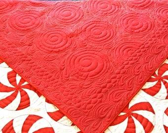 """Peppermint Swirl Handmade Quilt - Queen Size 86"""" x 92"""" - Deposit Listing (50%)"""