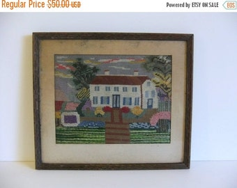 Christmas Sale Vintage Picture, Wall Art, Antique Needlepoint Wall hanging Framed