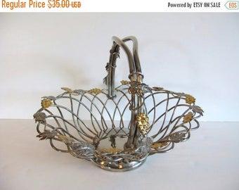 ON SALE Vintage Basket, Godinger Silver Art Basket