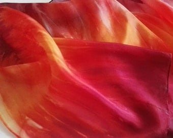 Hand Painted Silk Scarf in Vibrant Red, Orange and Yellow