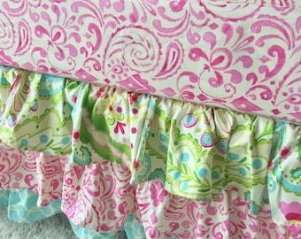 Kumari Teja Crib Skirt, Pink Ruffled Crib Skirt, Mint Crib Skirt, Baby Dust Ruffle, Pink Crib Skirt, Girl Crib Skirt, Crib Ruffle