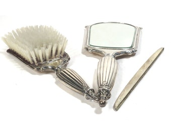 Webster Sterling Silver Dresser Set Vintage 1920s Vanity Hand Mirror - Brush - Comb Cover - FREE Domestic Shipping