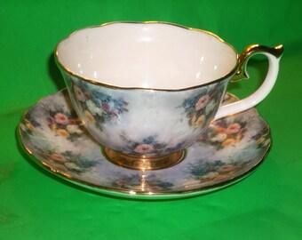 "Bradford Editions ""Glory"" Lena Liu's Glorious Chintz Teacup and Saucer"